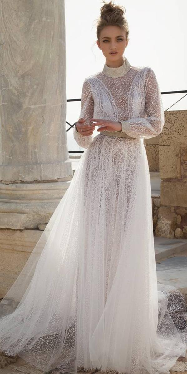 aline with high neck and long sleeves dany mizrachi wedding dresses