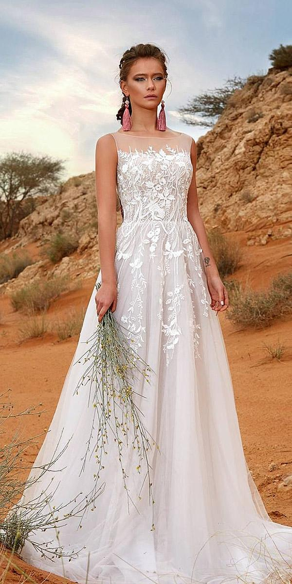 aline with lace and train armonia wedding dresses
