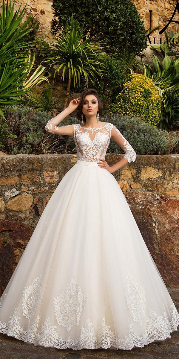 aline with lace jewe neckline and-3 4 sleeves allegresse wedding dresses