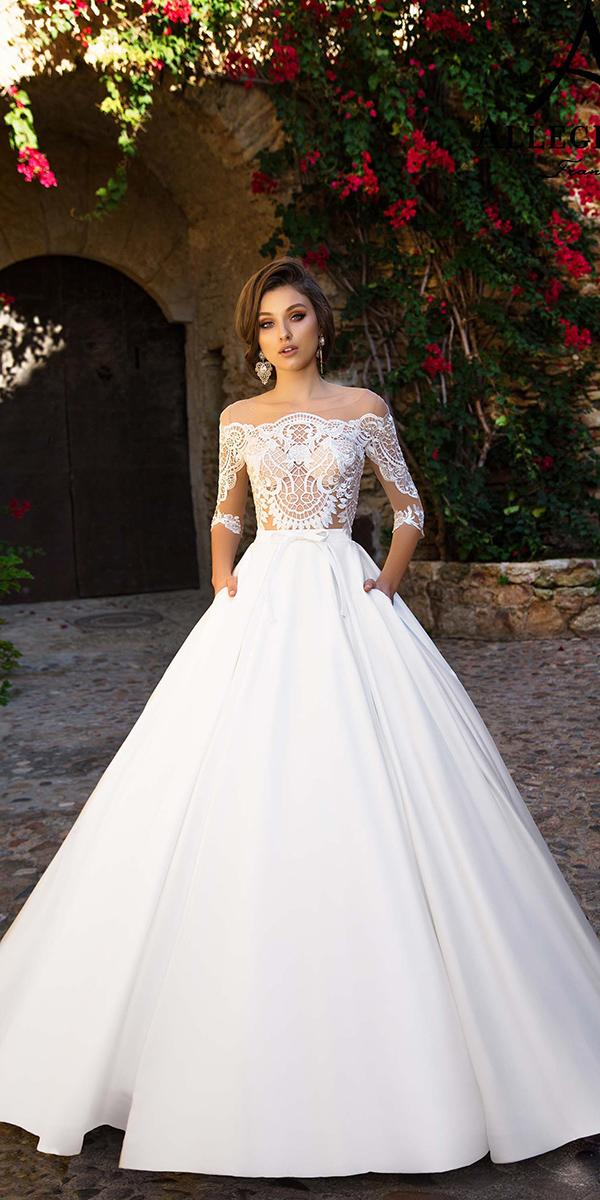 aline with lace off shoulder 3 4 sleeves allegresse wedding dresses