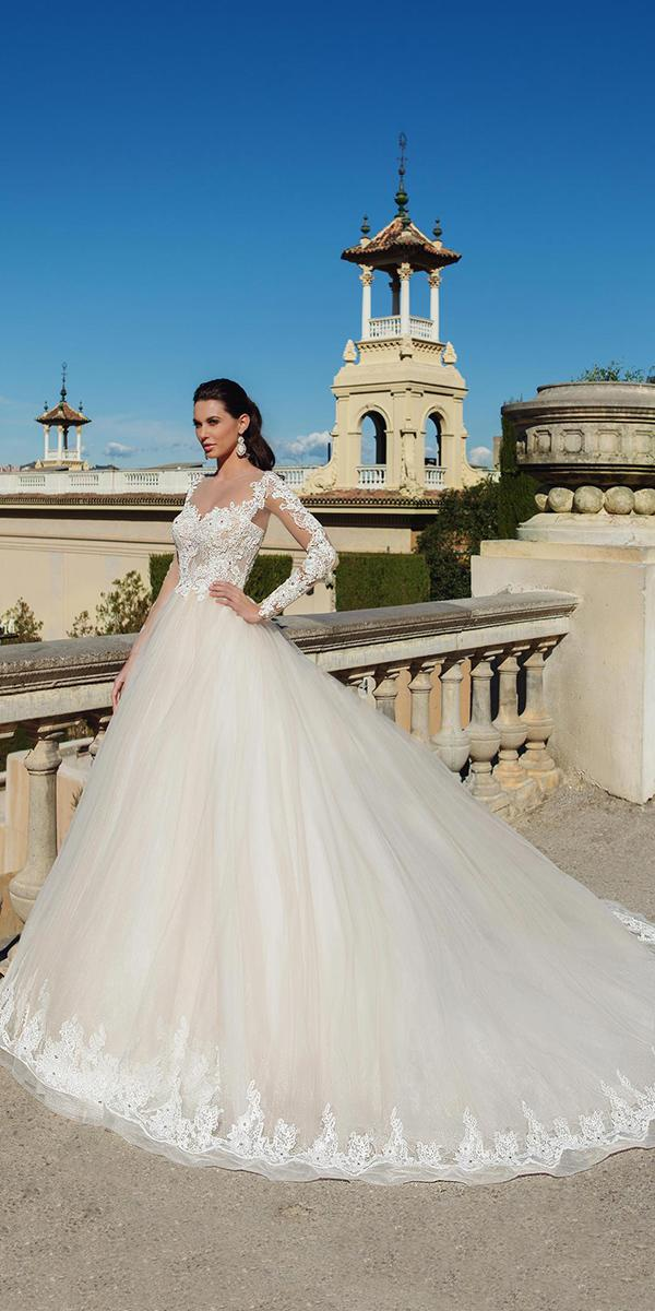 aline with long sleeves and long train ricca sposa wedding dresses