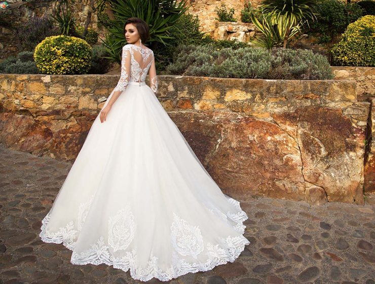 aline with long sleeves and train allegresse wedding dresses
