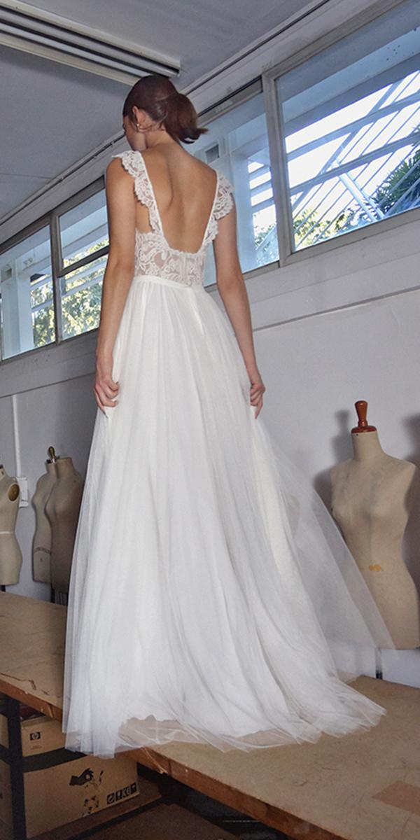 aline with open back and train lihi hod wedding dresses
