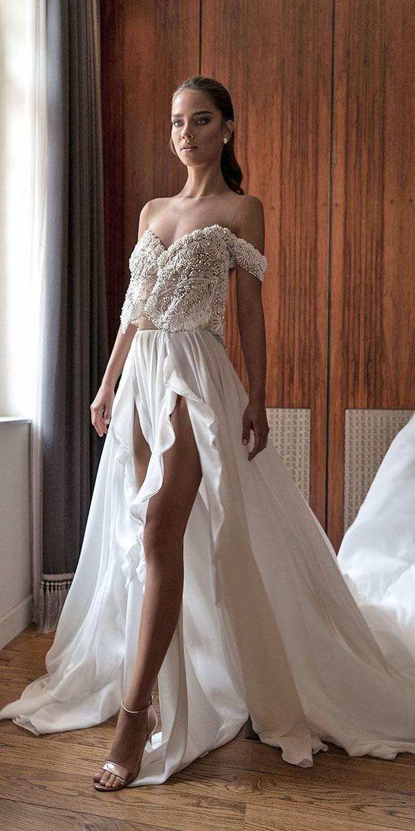 aline with sweetheart and off shoulder with train elihav sasson wedding dresses