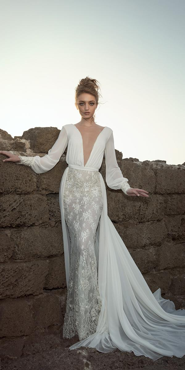aline with v neck and long sleeves dany mizrachi wedding dresses