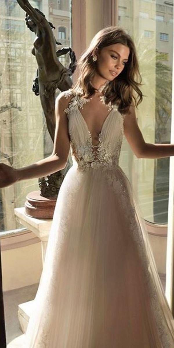 aline with v neckline and beading crystals elihav sasson wedding dresses
