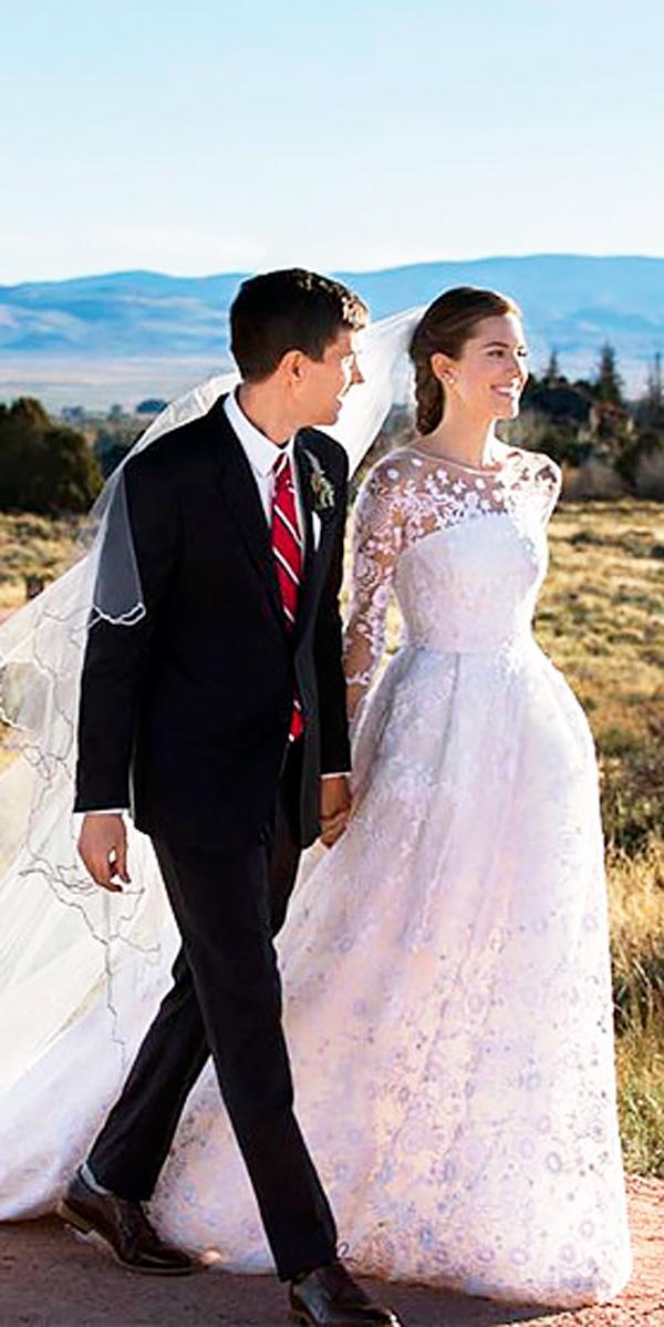 allison williamsa line lace illusion neck celebrity wedding dresses with long sleeves oscar de la renta