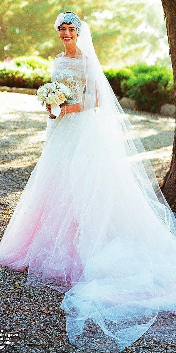 anne hathaway exclusive ball gown ombre off the shoulder with veil celebrity wedding dresses valentino