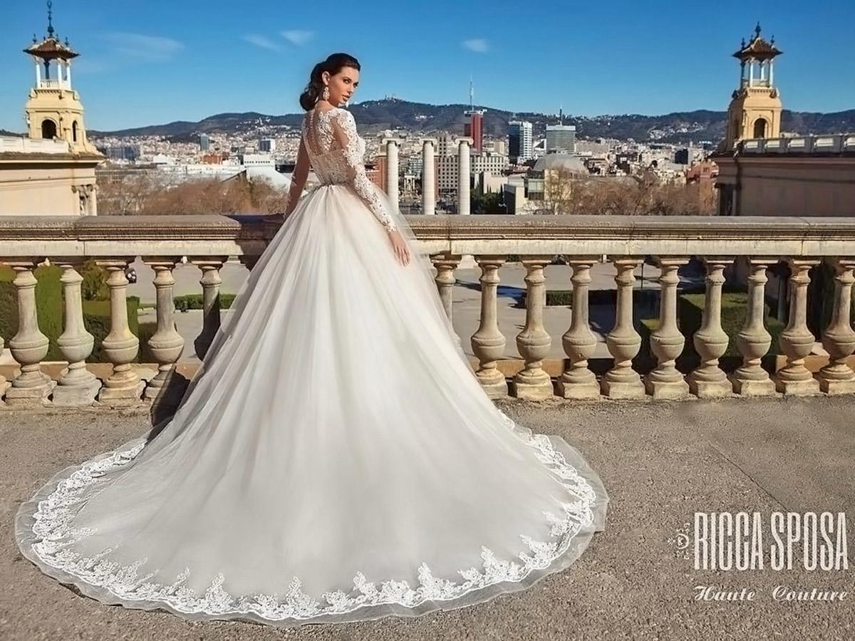 ball gown embroidered lace with swarovski crystals ricca sposa wedding dresse main