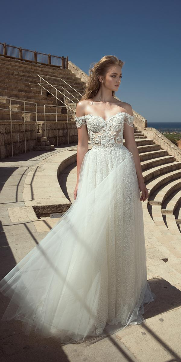 ball gown off shoulder with embroidered lace appliques dany mizrachi wedding dresses