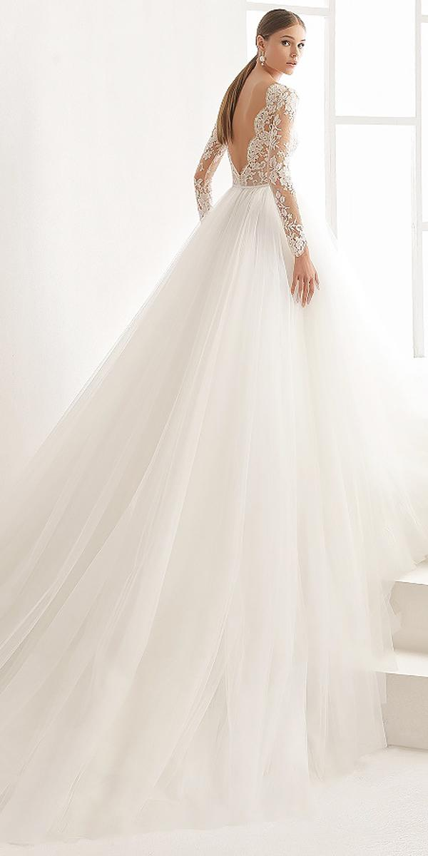 ball gown open back wedding dresses with lace sleeves rosa clara