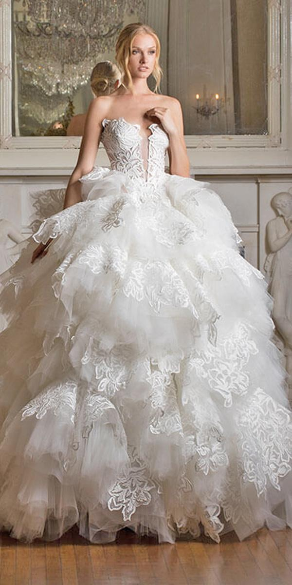 ball gown ruffles with sweetheart and strapless pnina tornai wedding dresses