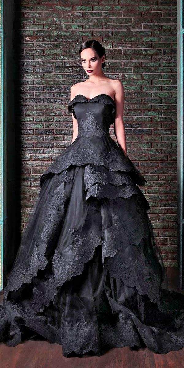 ball gown strapless sweetheart black colored wedding dresses with ruffled skirt rami kadi