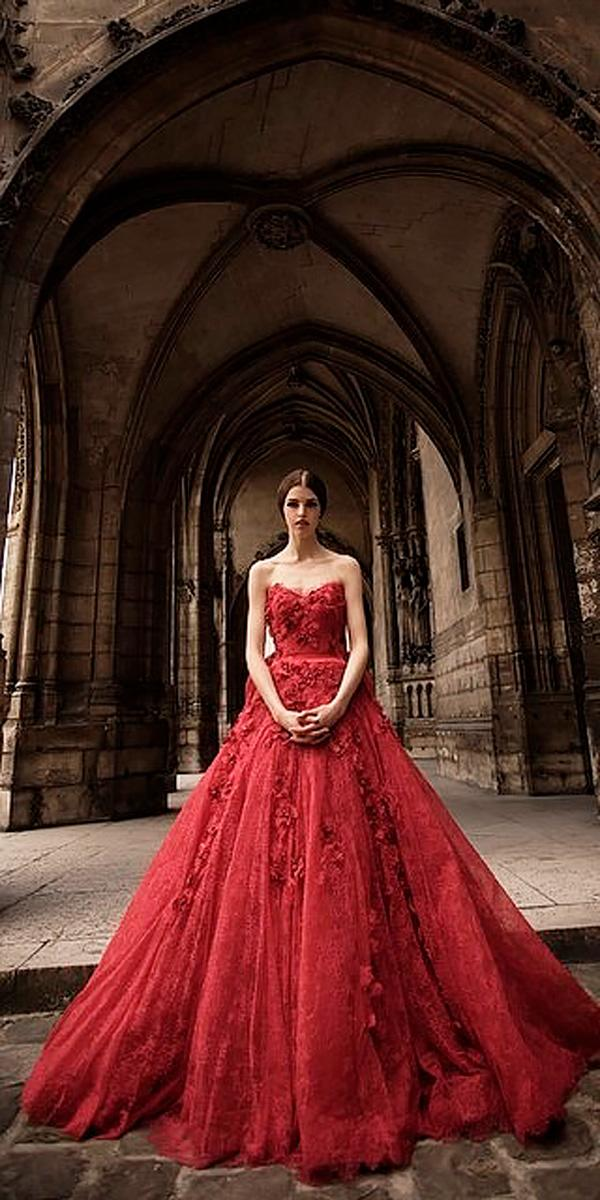 ball gown strapless sweetheart red colored wedding dresses hian tjen