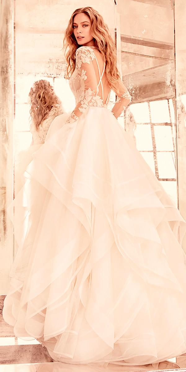 ball gown v neck illusion bateau wedding dresses with lace sleeves hayley paige