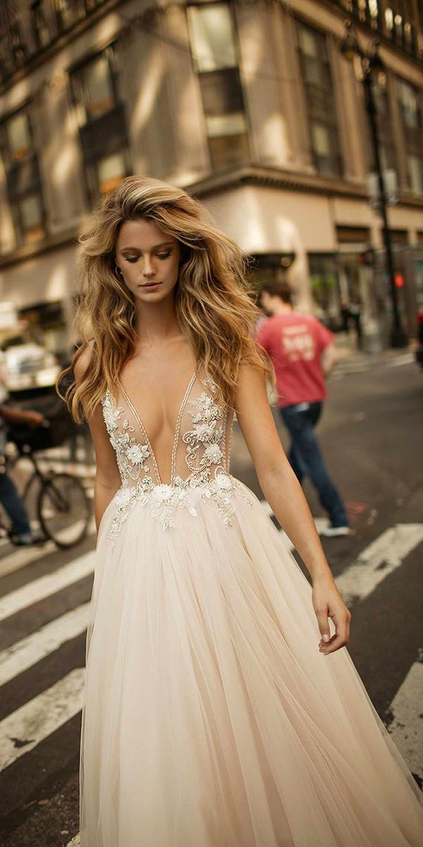 ball gown v neckline with embroidered lace berta bridal wedding dresses
