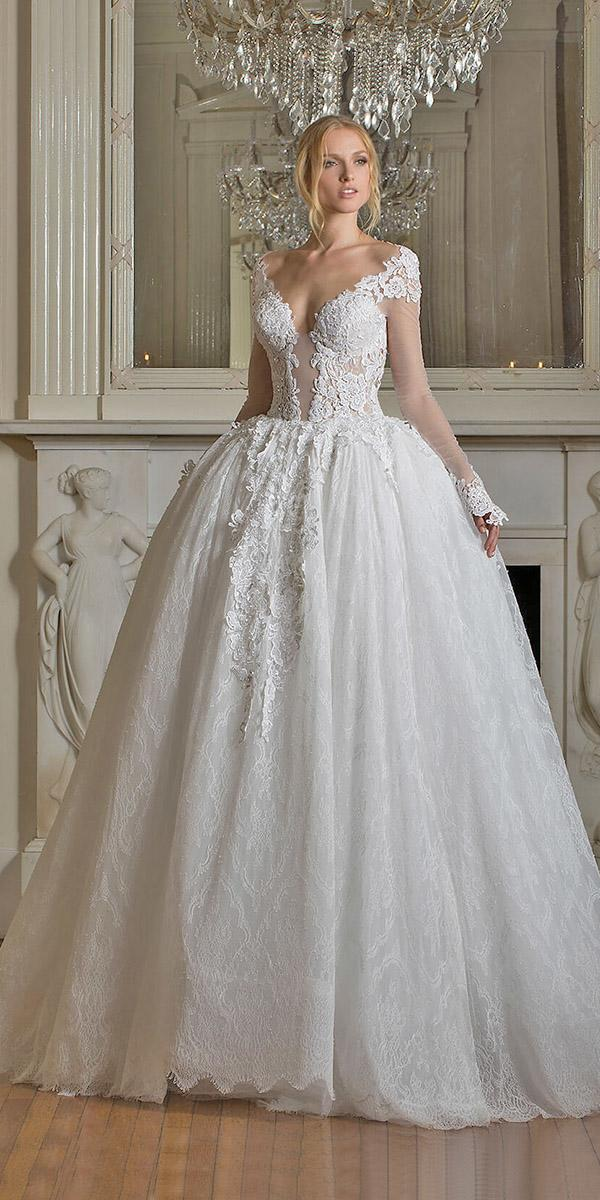 ball gown with long offshoulder sleeves pnina tornai wedding dresses