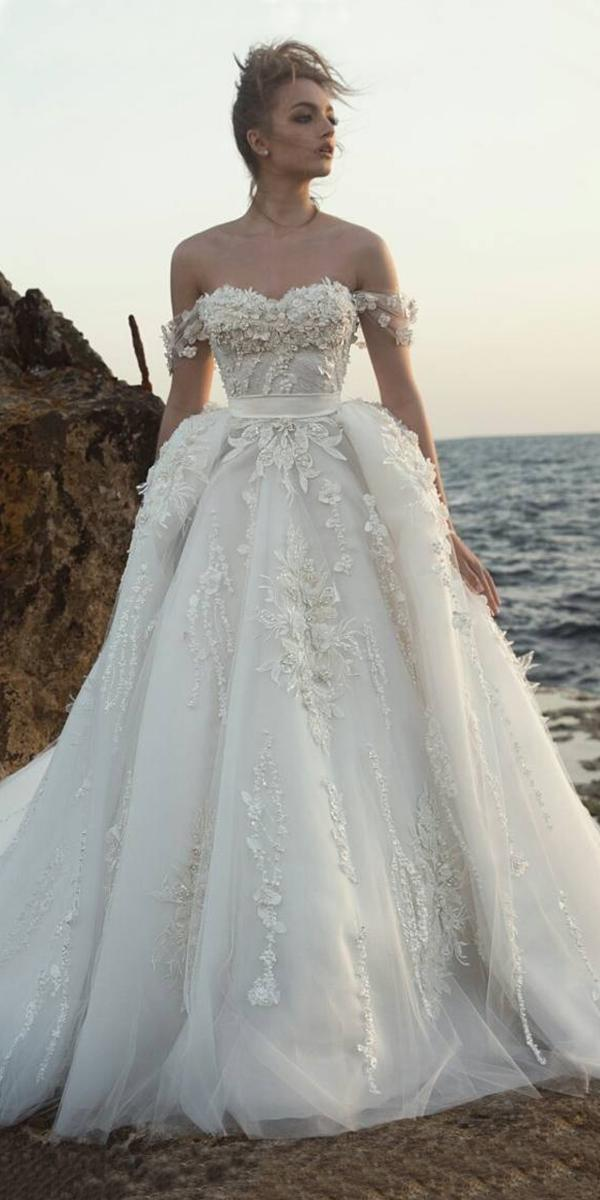 ball gown with off shoulder embroidered lace appliques dany mizrachi wedding dresses
