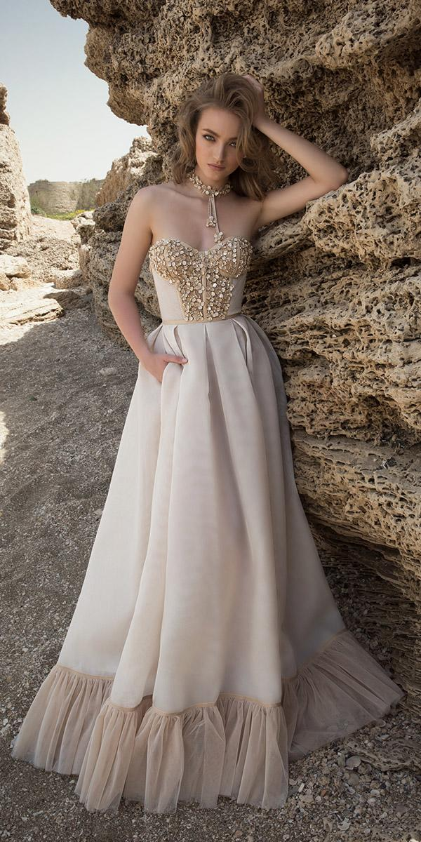 ball gown with sweetheart and embroidered lace appliques dany mizrachi wedding dresses