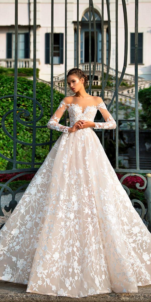 ball gown off the shoulder wedding dresses with lace sleeves milla nova