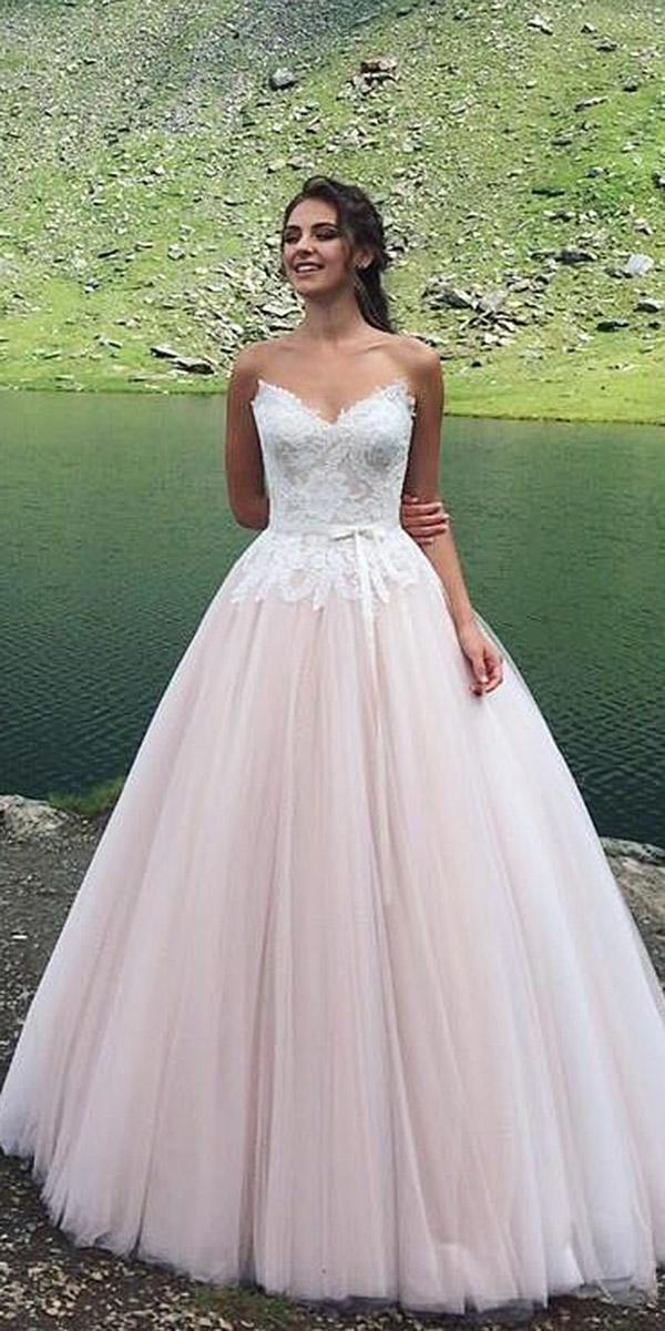 colored blush ball gown lace sweetheart corset wedding dresses armonia