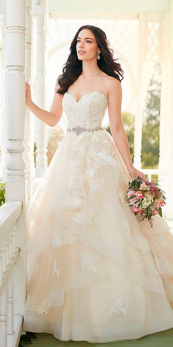 ball gown sweetheart champagne lace ivory wedding dresses martina liana