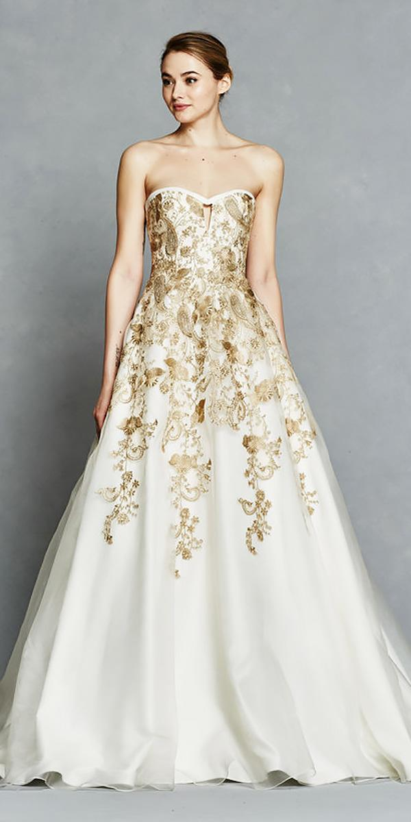 ballgown sweetheart neckline gold elegant wedding dresses kelly faetenini