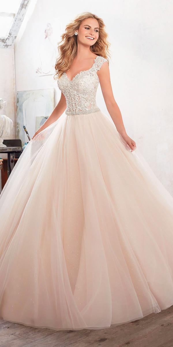 ball gown sweetheart neckline wedding dresses with cap sleeves morilee