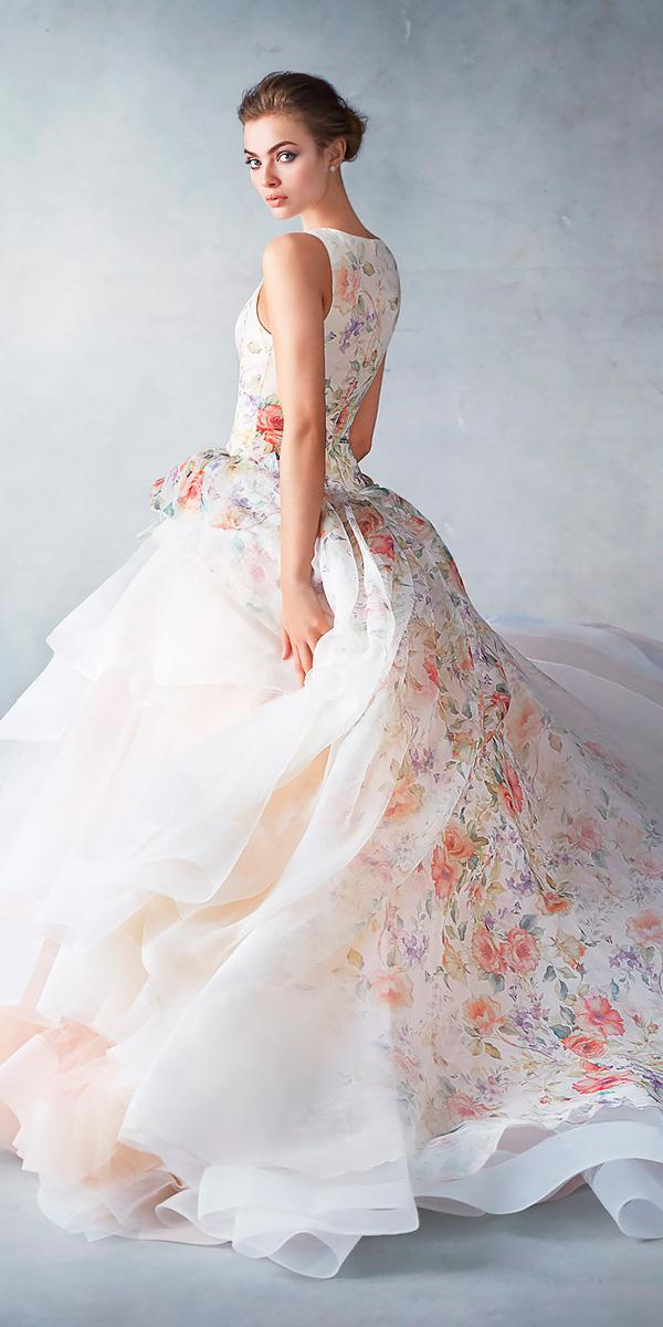 bateau ballgown floral wedding dresses with side gathered skirt lazaro