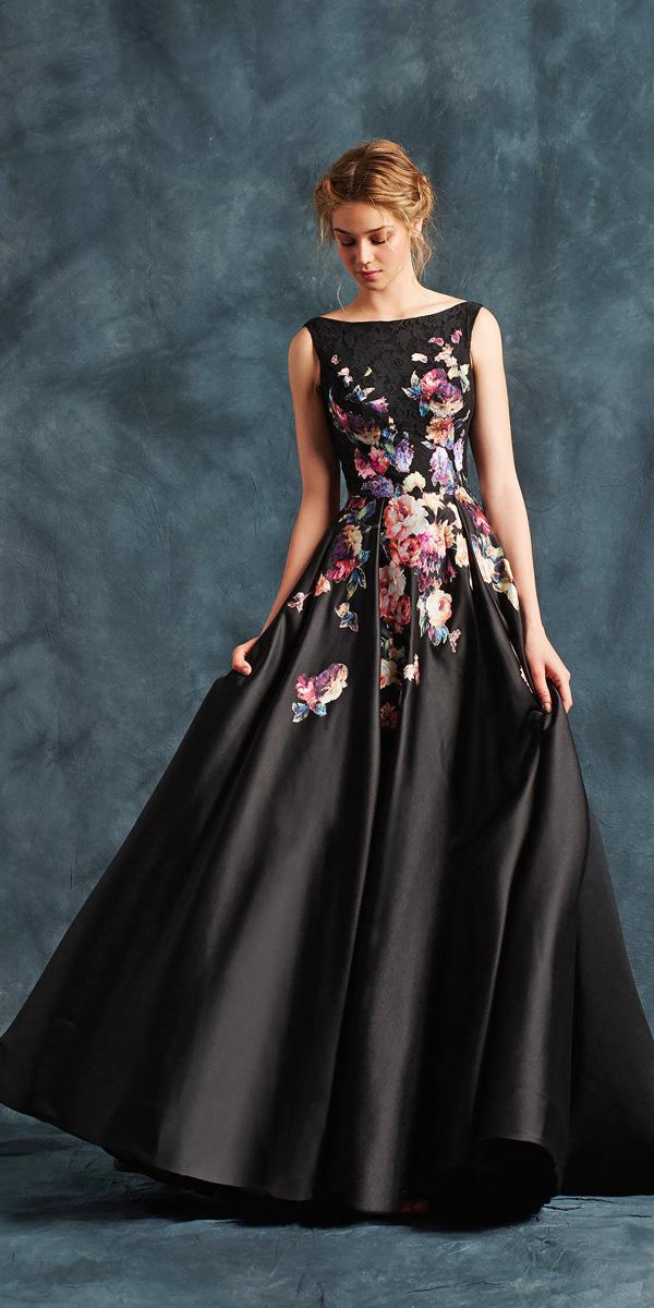 bateau black colored floral wedding dresses atelier eme