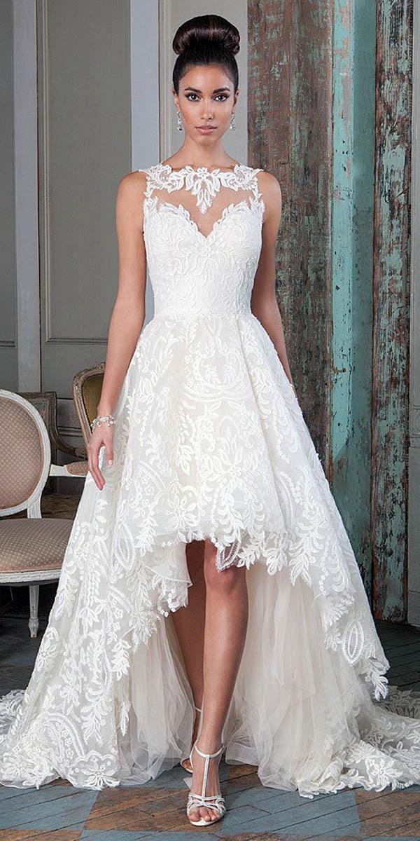 bateau illusion lace neckline high low wedding dresses justin alexander