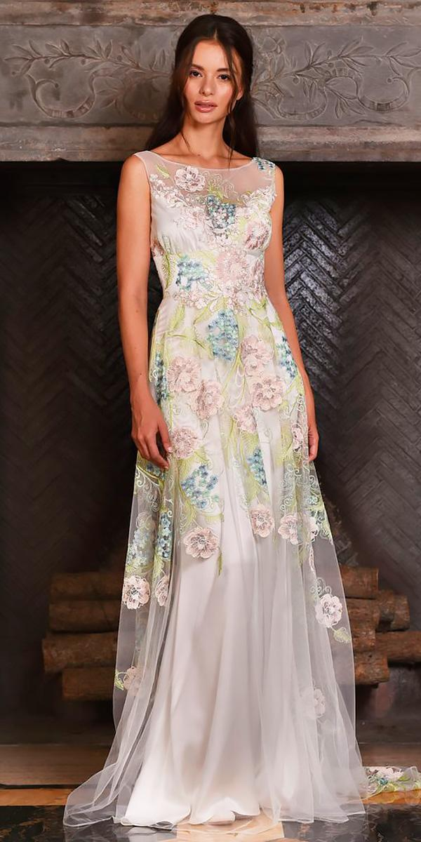 bateau illusion neckline floral wedding dresses claire petti bone