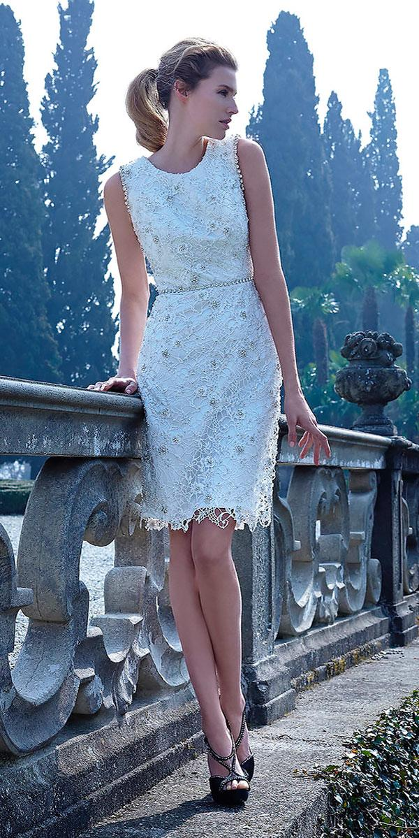 bateau lace knee length wedding dresses jillian