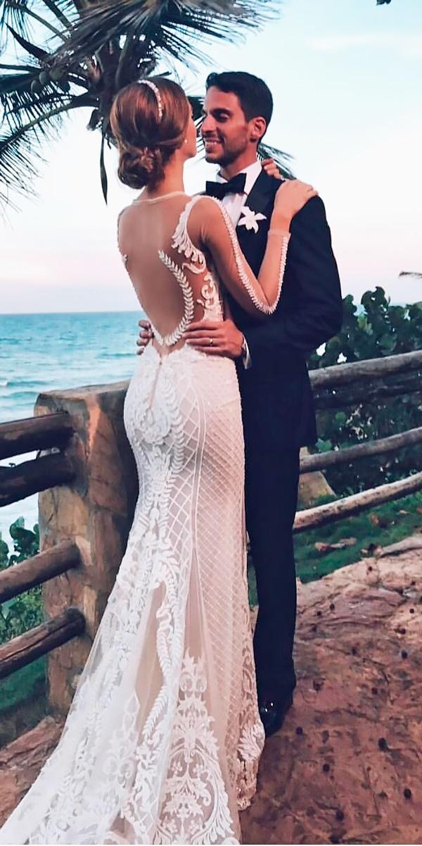 beach open back wedding dresses lace with illusion long sleeves berta bridal