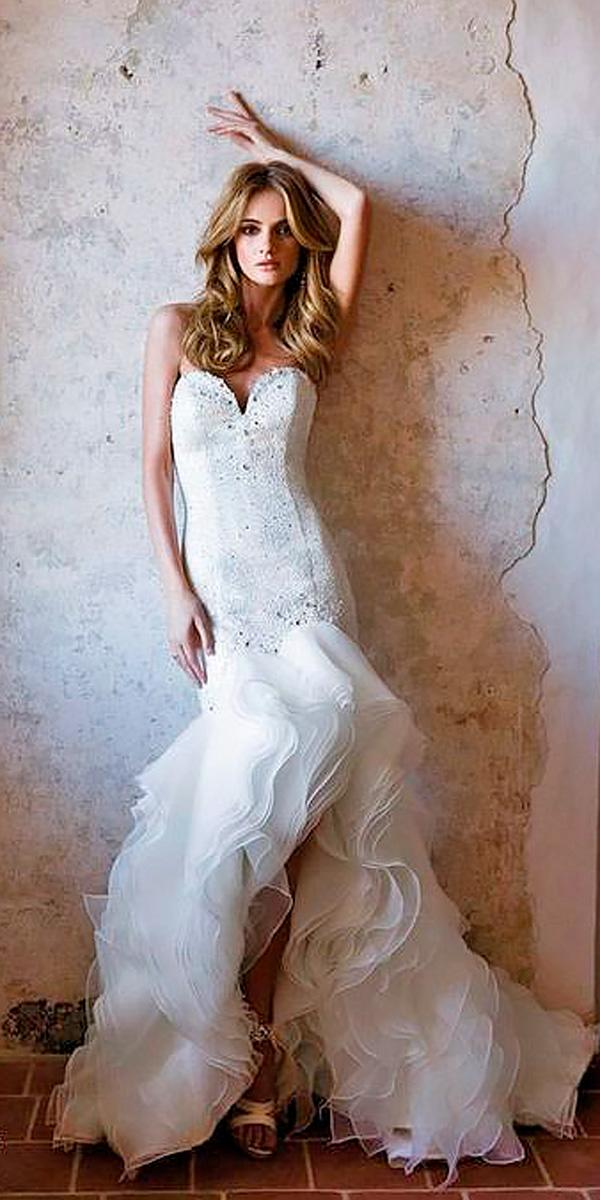 beach strapless sweetheart neckline high low wedding dresses alexandra rinaudo