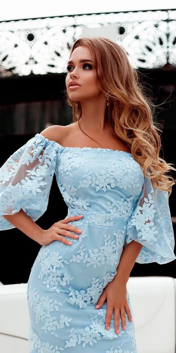 beach wedding guest dresses blue lace off the shoulder floral with sleeves liliya petrova