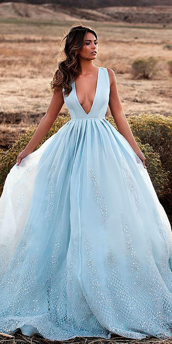 blue ball gown deep v neckline colored wedding dresses lurelly