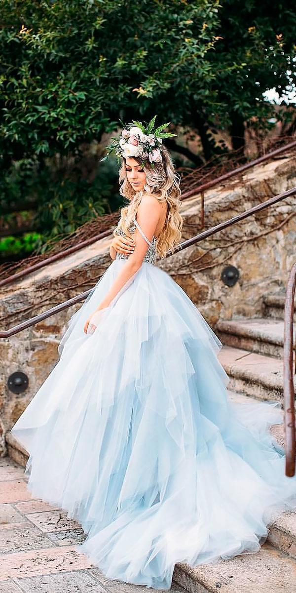 blue ball gown spaghetti neckline colored wedding dresses hayley paige
