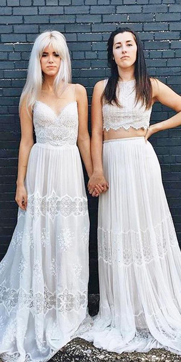 bohemian wedding dresses lace embellishment with straps detached skirt flora bridal