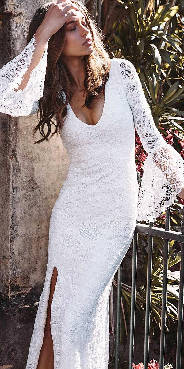 bohemian wedding dresses sheath with long sleeves lae v neckline grace loves lace