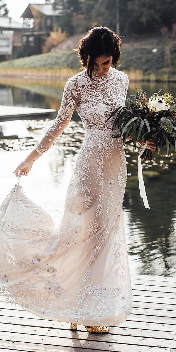 bohemian wedding dresses sheath with sleeves floral embellishment blush hermione depaula