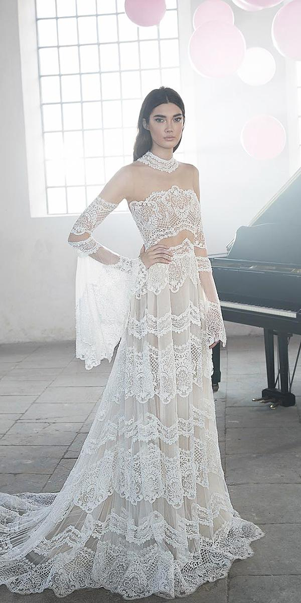 bohemian wedding dresses with blowing sleeves illusion neckline lee petra greebenau