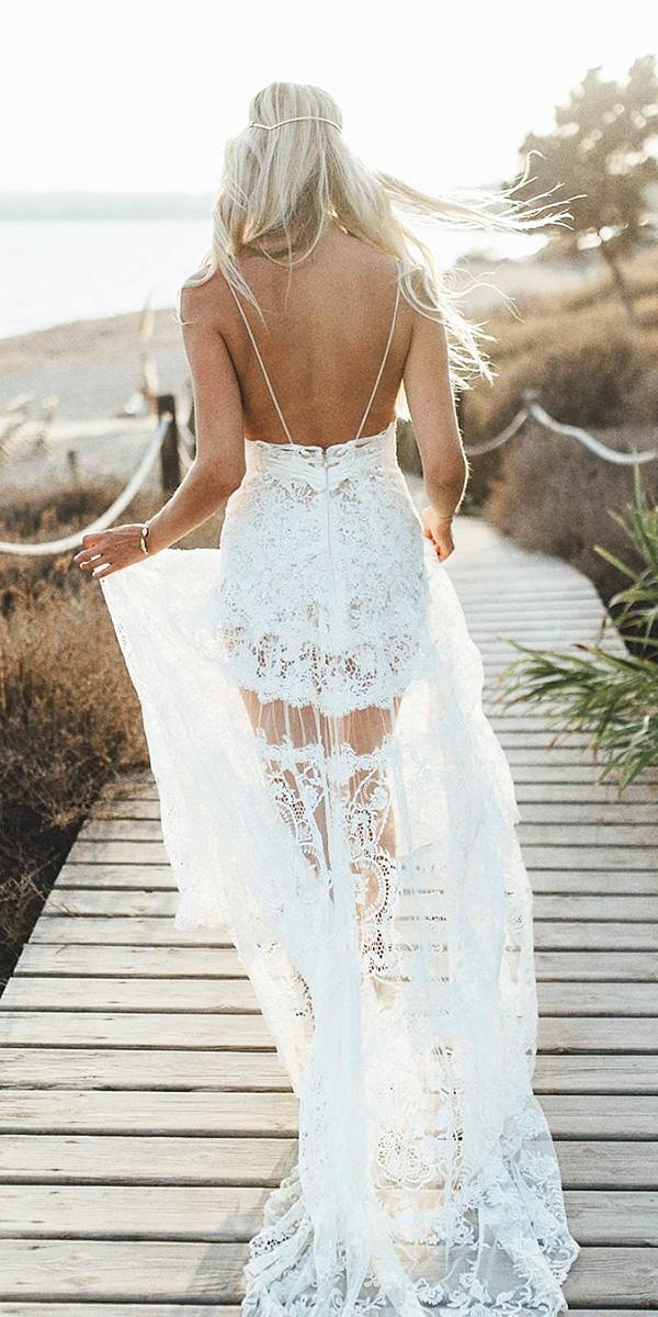 bohemian wedding dresses with spaghetti straps lace flowly yolan cris