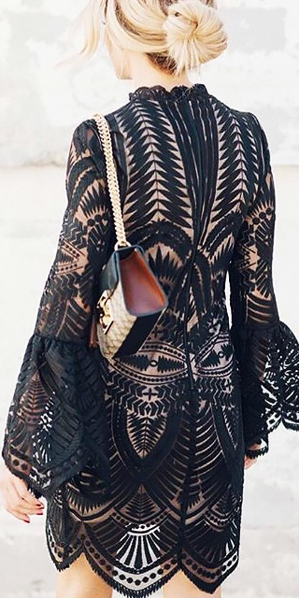 boho lace short beach wedding guest dresses with long sleeves taylor cole
