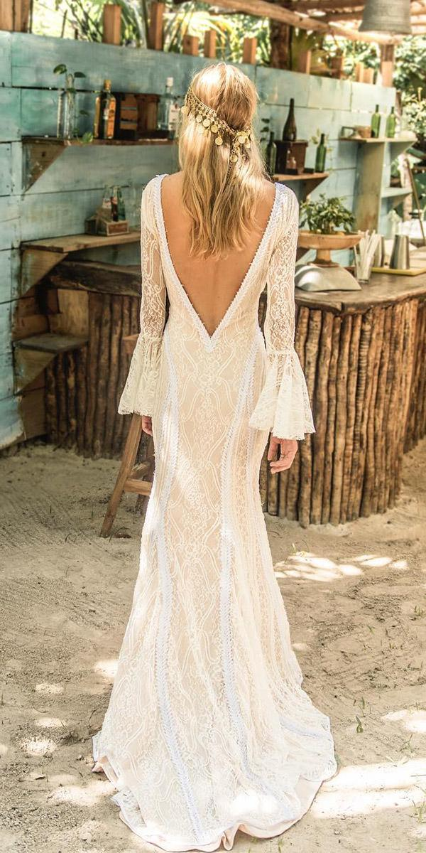 boho open back wedding dresses mermaid with long sleeves v back island tribe