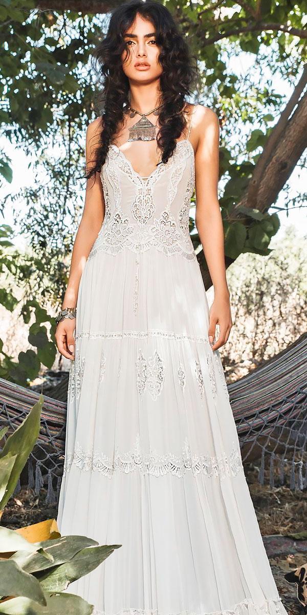 boho wedding dresses a line spaghetti strap sweetheart neckline heavily embellished bodice inbal raviv