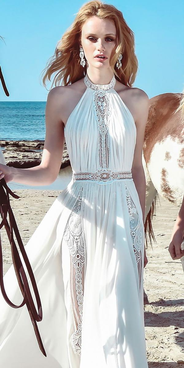 boho wedding dresses halter neckline a line sweep train inbal raviv