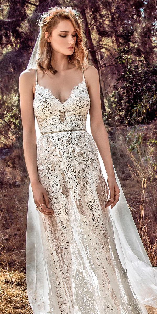 boho wedding dresses spaghetti strap sweetheart neckline a line galia lahav