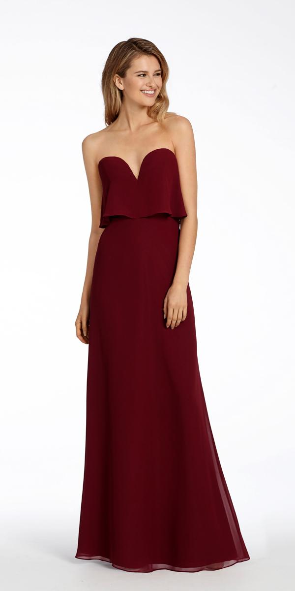 burgundy chiffon strapless a line long bridesmaid wedding dresses hayley paige