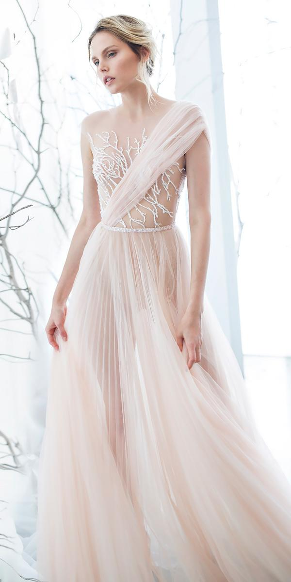 chiffon a line one shoulder strapless straight across wedding dress neckline mira zwillinger